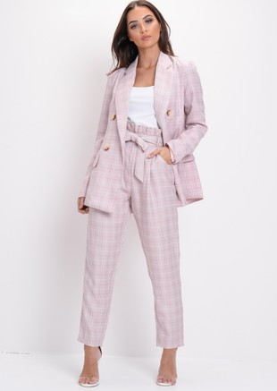Tailored White Checked Blazer Pink