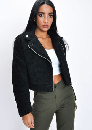 Teddy Borg Crop Biker Jacket Black