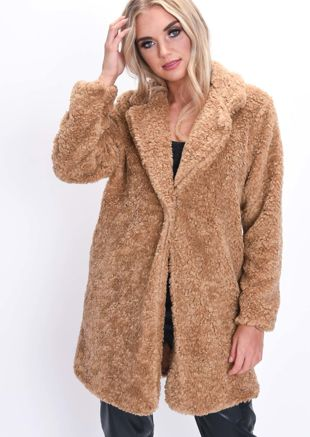Teddy Borg Faux Fur Coat Camel Brown