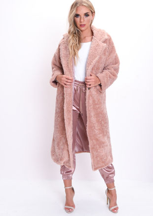 Teddy Borg Longline Coat Blush Pink