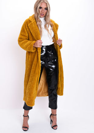 Teddy Borg Longline Coat Mustard Yellow