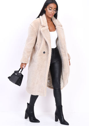 Teddy Borg Longline Coat Cream Beige