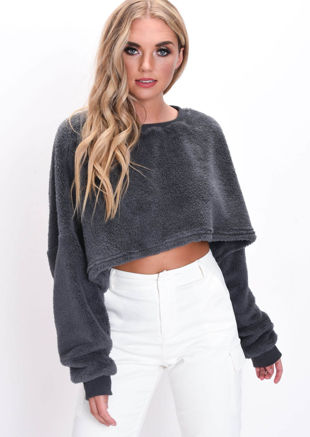 Teddy Oversized Fluffy Batwing Crop Jumper Grey
