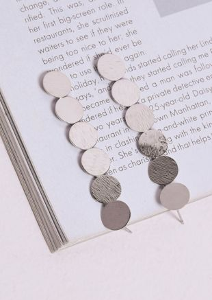 Textured Circle Drop Earrings Silver