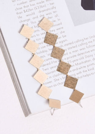 Textured Square Drop Earrings Gold