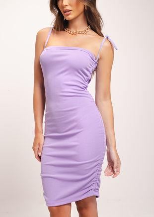 Tie Side Ruched Mini Dress Lavender Purple