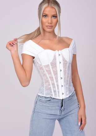 Tie Up Cropped Lace Corset Top White