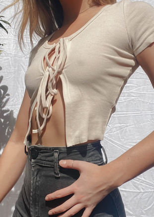 Tie Up Ribbed Cropped Short Sleeve Cardigan Top Beige