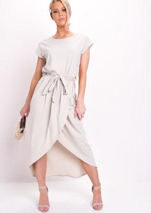 Tie Waist Dipped Hem Stretch Midi Dress Beige
