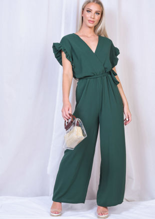 Tie Waist Frill Short Sleeve Jumpsuit Green