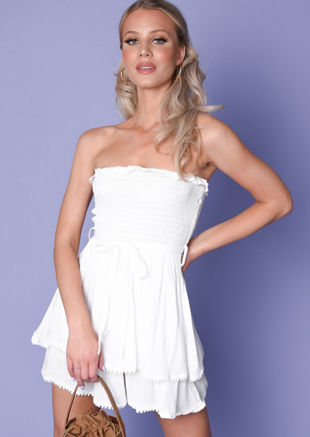 Tie Waist Shirred Strapless Playsuit White