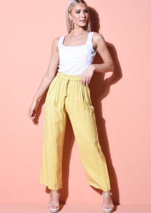 Tie Waist Wide Leg Trousers Yellow