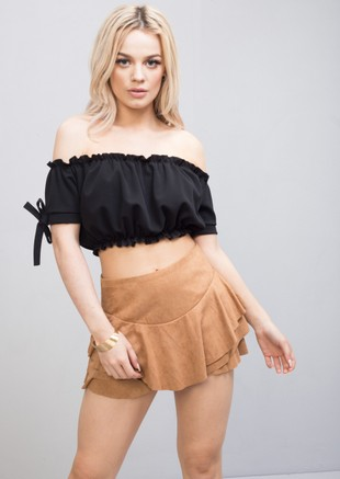 Suede Tiered Floaty Frill Mini Skort Brown