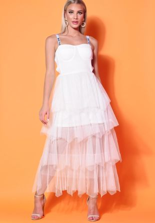 Tiered Tulle Cup Detail Midaxi Dress White