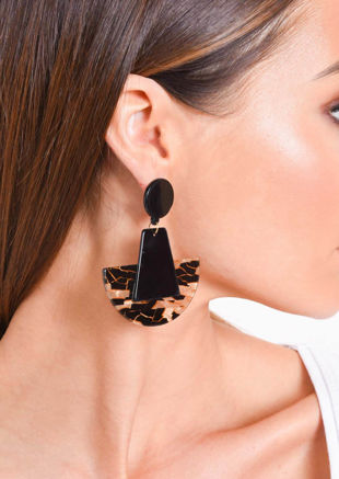 Tortoiseshell Half Circle Earrings Black