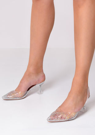 Transparent Perspex Sling Back Diamante Court Heels Silver