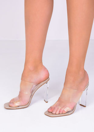 Transparent Perspex Slip On Mule Heels Beige