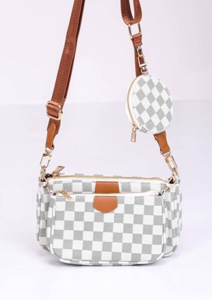Checked Trio Chain Cross Body Bag Cream
