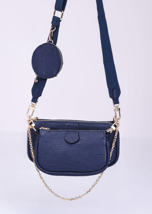 Trio Chain Cross Body Bag Navy Blue