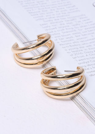 Triple Hoop Small Earrings Gold