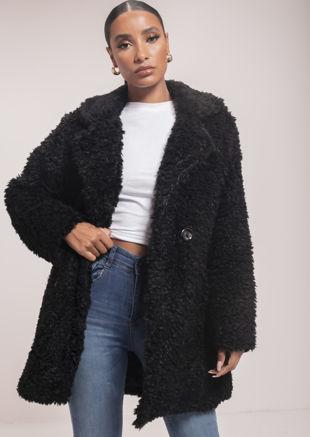 Longline Borg Teddy Coat Black