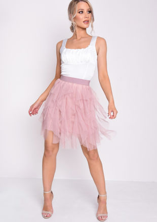 Tulle High Waisted Tiered Mini Skirt Pink