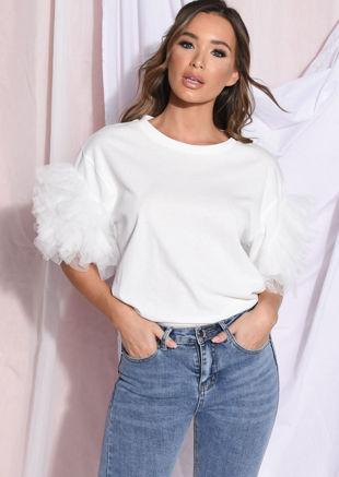 Tulle Net Frill Short Sleeve T Shirt Top White