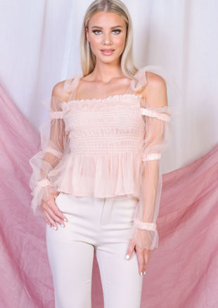 Tulle Tie Strap Off Shoulder Shirred Crop Top Pink