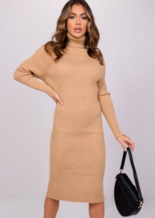 High Neck Knitted Midi Jumper Dress Beige