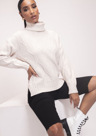 Turtle Neck Oversized Cabel Knitted Jumper Beige