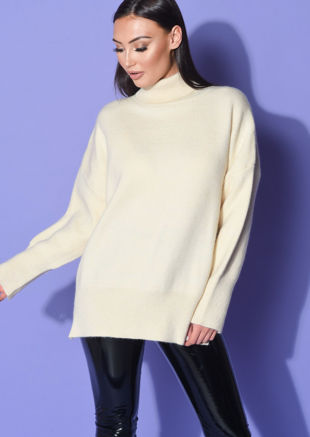 Turtle Neck Oversized Chunky Knit Long Sleeve Jumper White