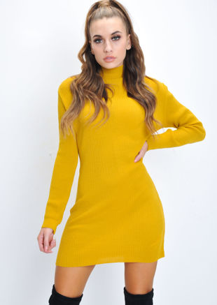 Turtleneck Knit Bodycon Jumper Dress Mustard Yellow