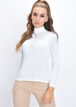 Turtleneck Long Sleeve Stretch Top White