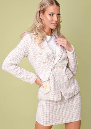 Tweed Blazer And Mini Skirt Co Ord Set Pink
