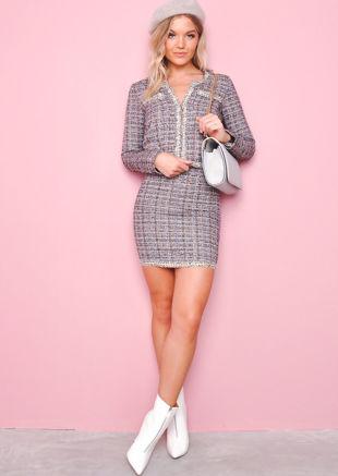 Tweed Blazer and Skirt Co Ord Set Black