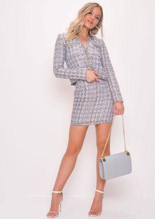 Tweed Blazer and Skirt Co Ord Set White
