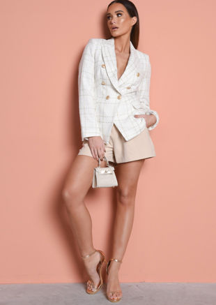 Tweed Fitted Double Breasted Metallic Blazer Jacket Gold Check Cream