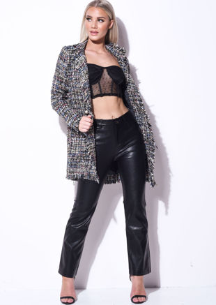 Tweed Pearl Button Longline Jacket Black