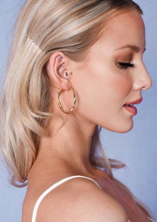 Twist Hoop Earrings Gold