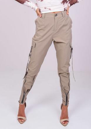 Utility Cargo Belted Front Zip Pants Beige
