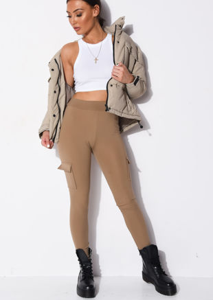 Utility Stretch Pocket Detail Leggings Beige