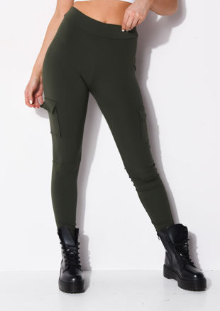 Utility Stretch Pocket Detail Leggings Khaki Green