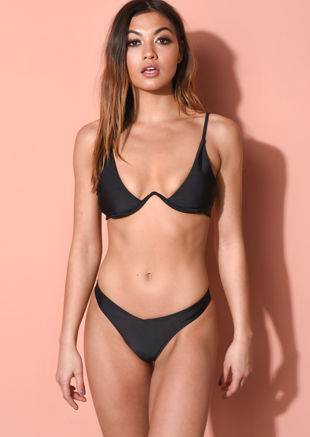 V Detail Underwired Plunge High Leg Bikini Black