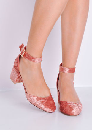 Crush Velvet Block Heel Ankle Strap Court Heels Pink
