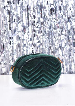 Velvet Chevron Quilted Bum Bag Green