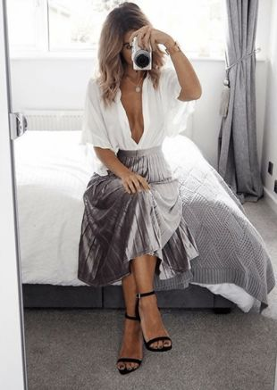Velvet Pleated Midi Skirt Silver Grey