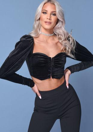 Velvet  Square Neckline Puff Sleeve Ruched Crop Top Black