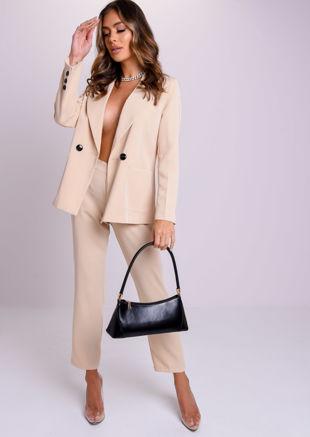 Oversized Boyfriend Boxy Blazer And Tailored Pants Co-Ord Set Beige