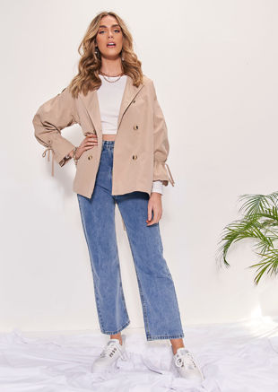 Waist Belted Button Down Ruched Sleeved Collared Trench Coat Beige