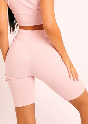 High Waist Ribbed Cycling Shorts Pink